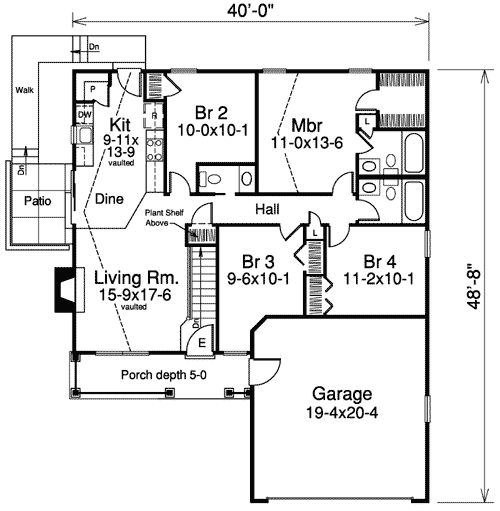 Narrow lot house plan joy studio design gallery best for Shallow lot ranch house plans