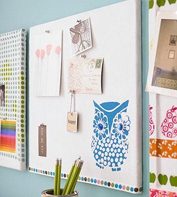 owl fabric bulletin board