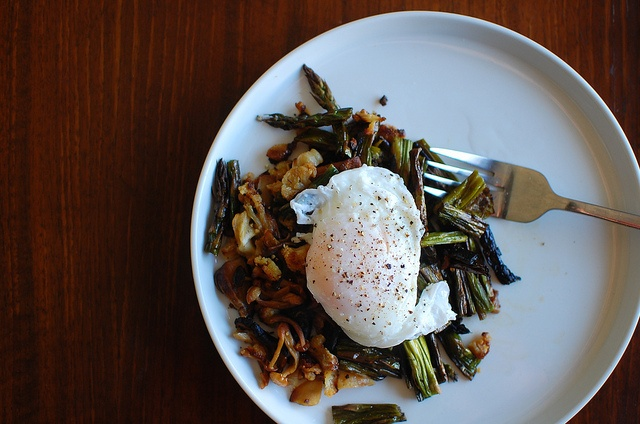 Asparagus and mushrooms with poached egg. saturday breakfast by rachel ...