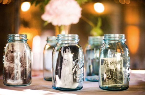 mason jars with photos..