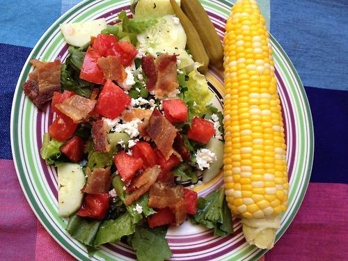 Salad and Corn on the Cob CSA: romaine lettuce, scallions, fresh basil ...
