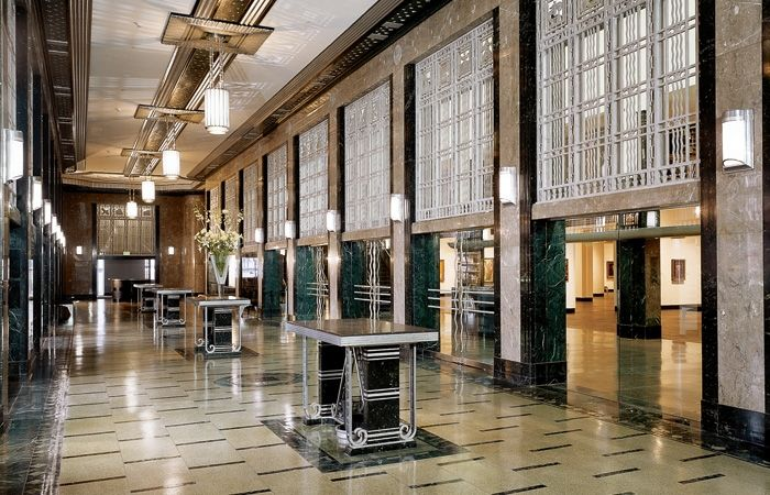 The first center lobby art deco pinterest for Interior design office nashville