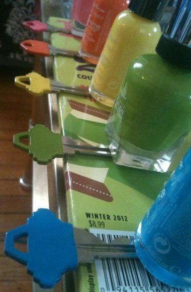 Nail-polish colour coded keys.