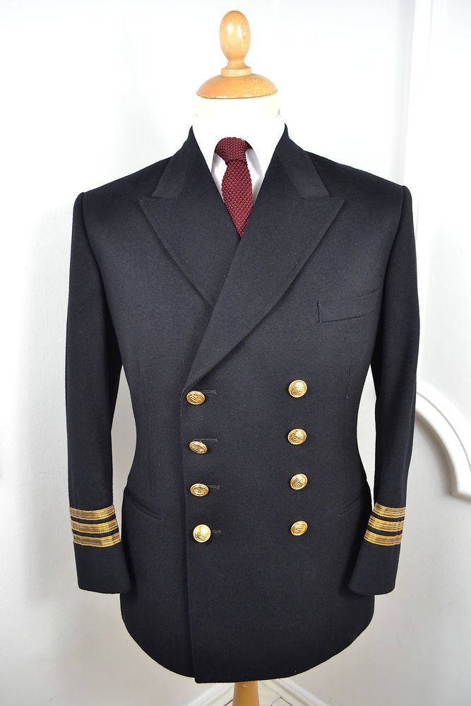 VINTAGE 1960s MERCHANT NAVY UNIFORM CHIEF OFFICER WOOL 2 PIECE SUIT ...