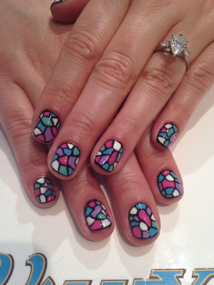 Gel nail art. Stained glass | Hair.Skin.Nails | Pinterest