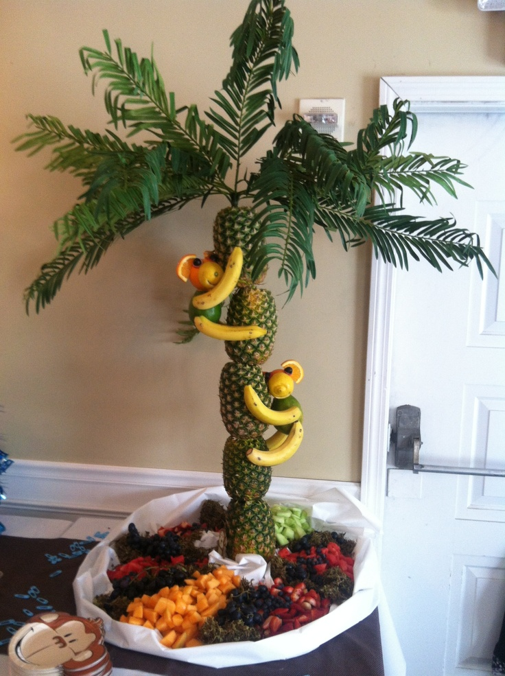 Monkey theme baby shower fruit tree monkeyin around for Baby shower tree decoration