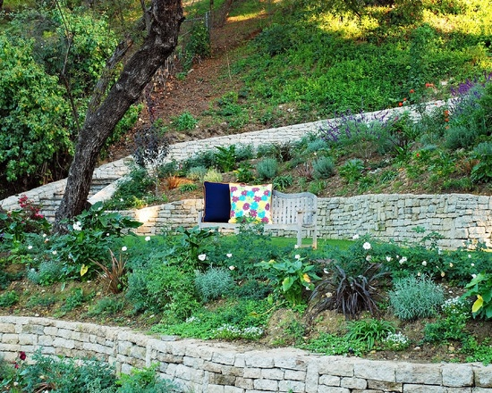 Terracing A Steep Backyard : Traditional Landscape French Country Garden Design, Pictures, Remodel