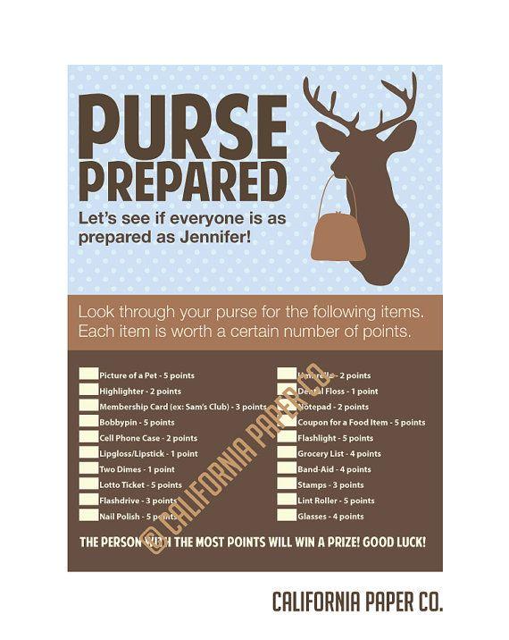 diy printable baby deer pregnancy purse prepared game baby shower