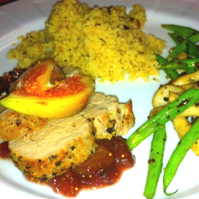 made roasted pork loin with fig sauce & French green beans, Shimeji ...