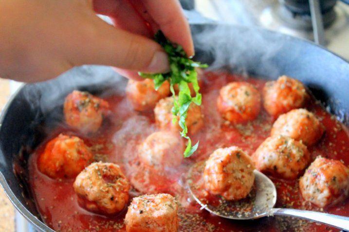 Turkey Meatballs in Spicy Tomato Basil Sauce with Burrata | Recipe