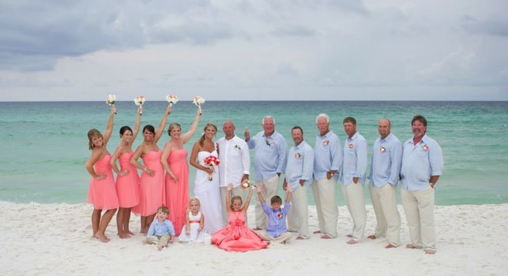 Beach wedding colors bahamas beach wedding for Coral bridesmaid dresses for beach wedding