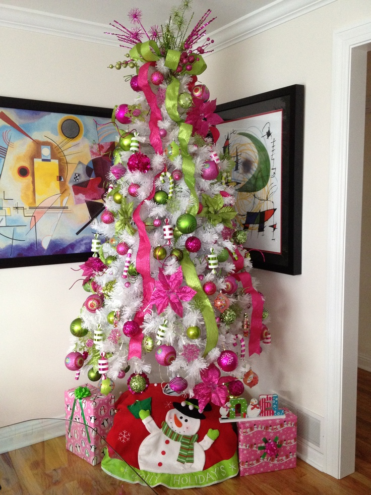My white tree with hot pink and light green decorations already up