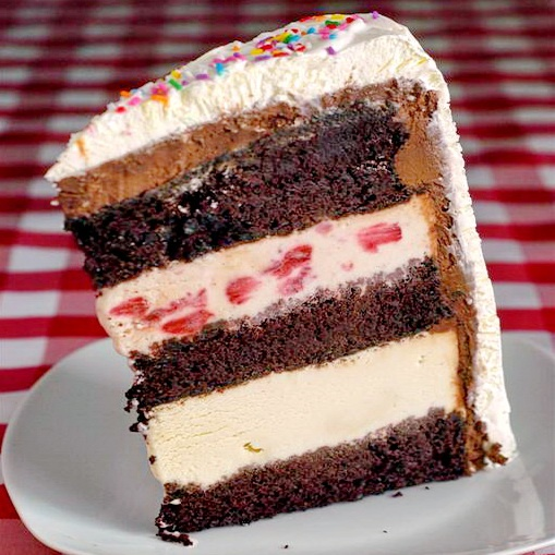 Triple Decker Neapolitan Ice Cream Cake- chocolate cake with layers of ...
