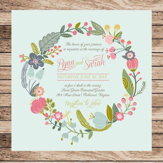 Diy Digital Printable Rustic Floral Calligraphy Wedding