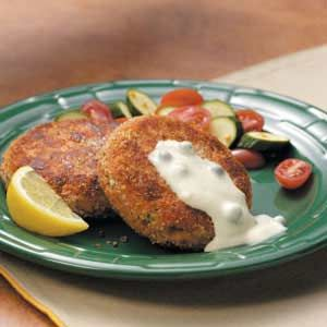 Salmon Patties with Caper Mayonnaise