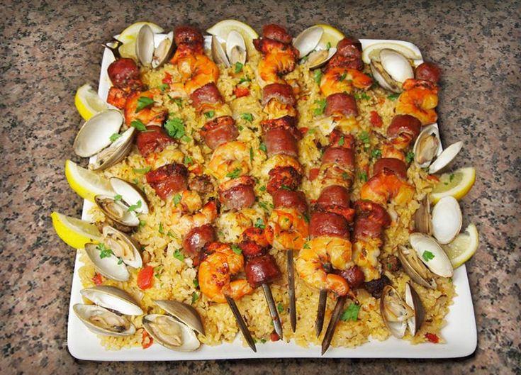 ... sausage shish kabob | Cedar Planked Paella Kabobs - Johnsonville.com