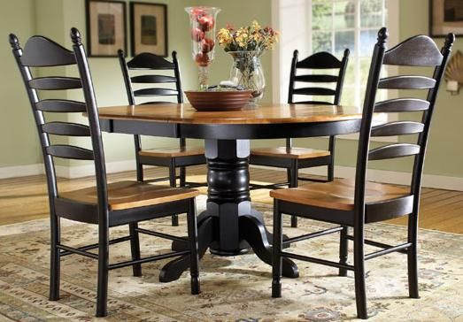 Madison park 5 piece oval pedestal table with butterfly leaf ladder - Round kitchen table with butterfly leaf ...