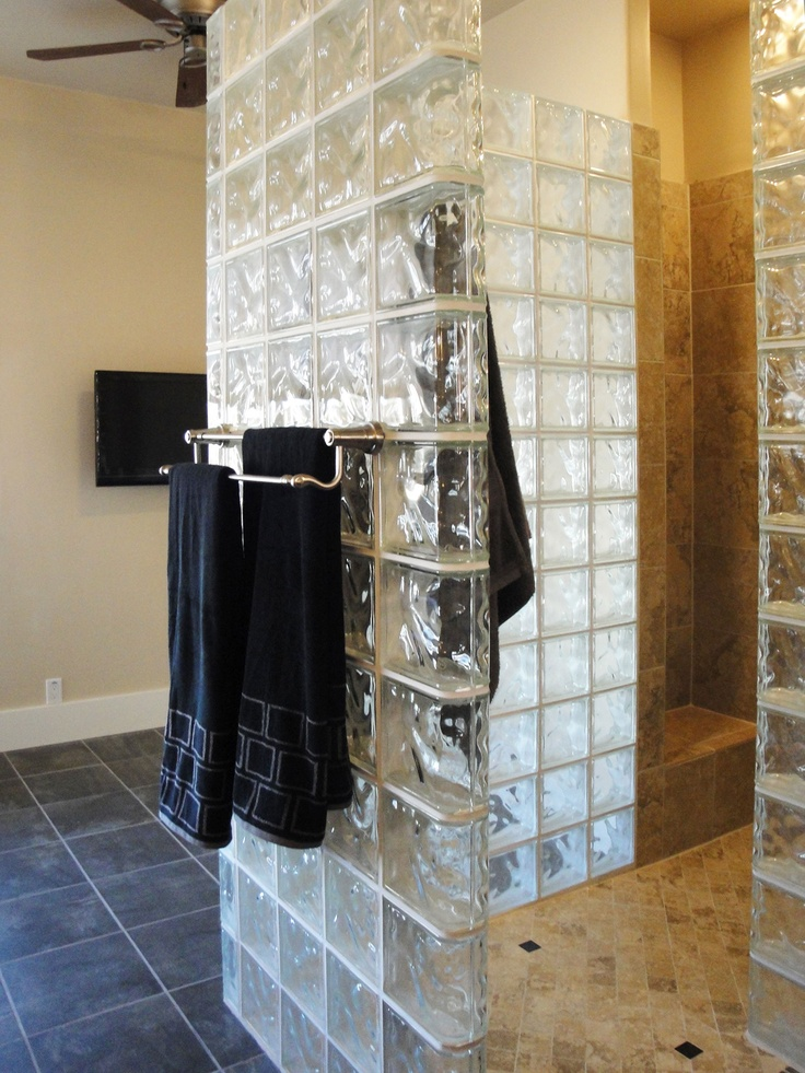Glass block shower showers pinterest Glass towel bar