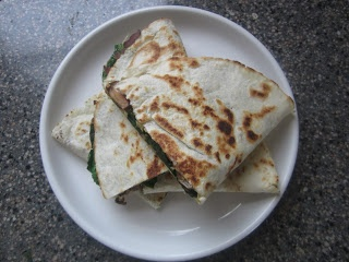 Pie Birds, Buttons and Muddy Puddles: Spinach & Mushroom Quesadillas