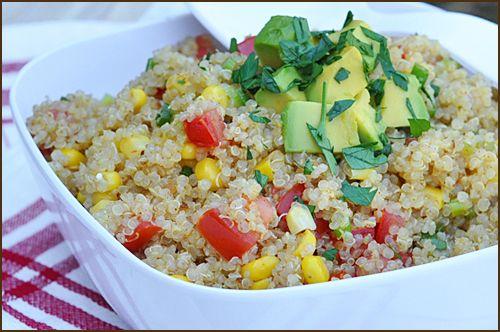 ... quinoa, olive oil, corn kernels, cherry tomatoes, scallions, avocado