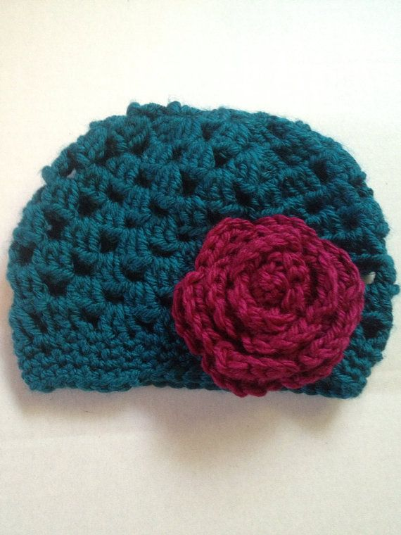 Crochet Granny Square Beanie Pattern : Handmade crochet baby beanie granny square hat with rose