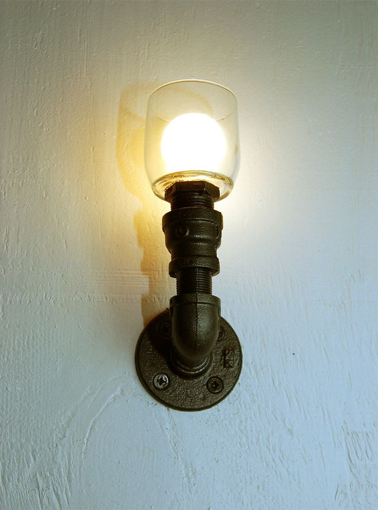 Wall sconce. Pipe lamp. Industrial lighting. Steampunk lamp. Upcycled?