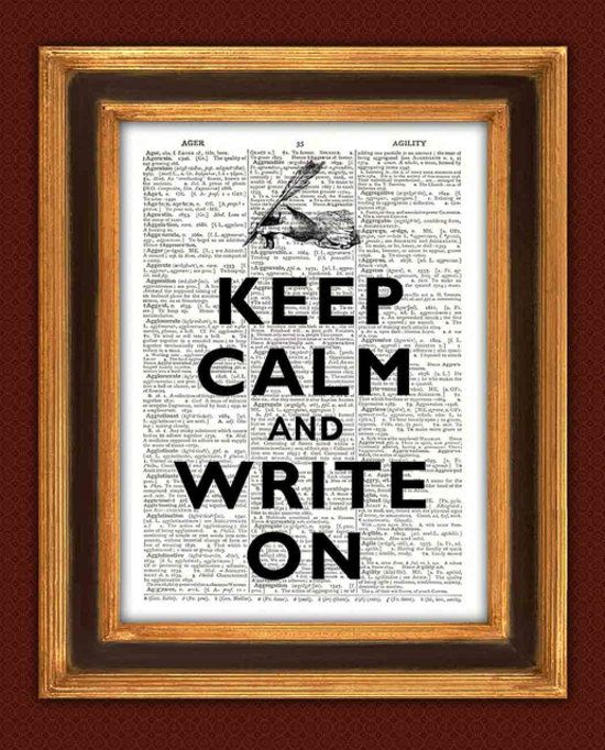 Give a writer some motivational decor with this typewriter keep calm and write on poster ($10).