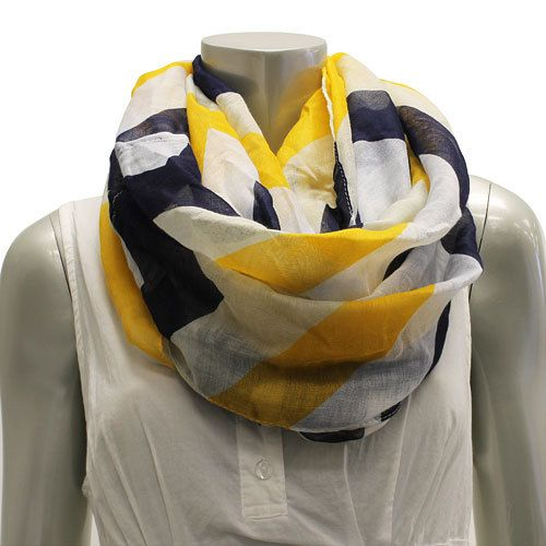 Navy Blue And Mustard Yellow Chevron Scarf Infinity