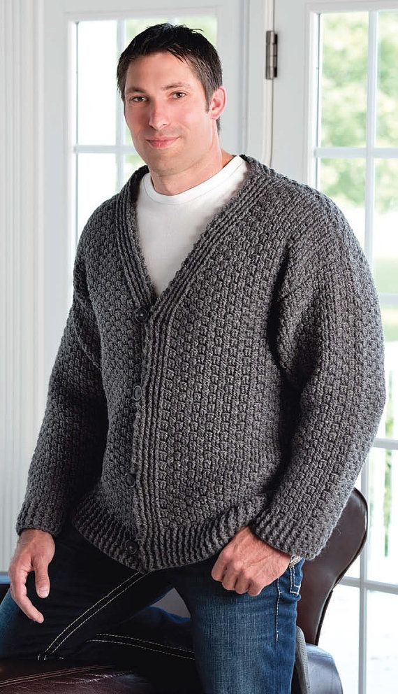 Crochet Patterns For Men s Sweaters : Cardigan Crochet Pattern Mens - Long Sweater Jacket