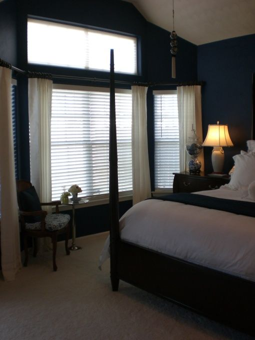 Navy blue bedroom with brown furniture for the home - Navy blue and brown bedroom ...