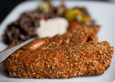 ... with tahini sauce and heirloom tomato quinoa salad | the naked beet