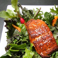 Touring & Tasting's Blackened Salmon Salad. A combination of spices ...