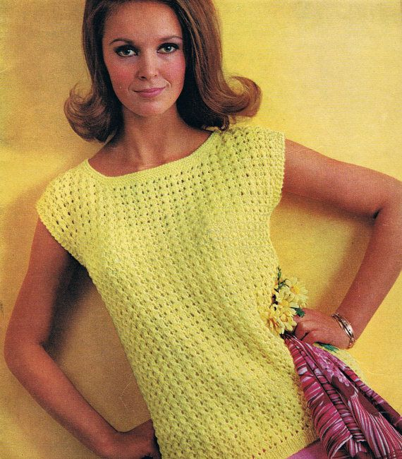 Knitting Summer Top : Vintage womens summer top dk knitting pattern