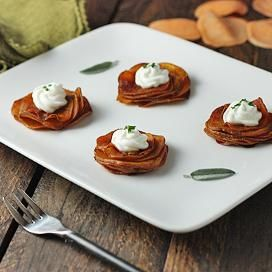 Sweet Potato Stacks With Crispy Sage Leaves Recipe — Dishmaps
