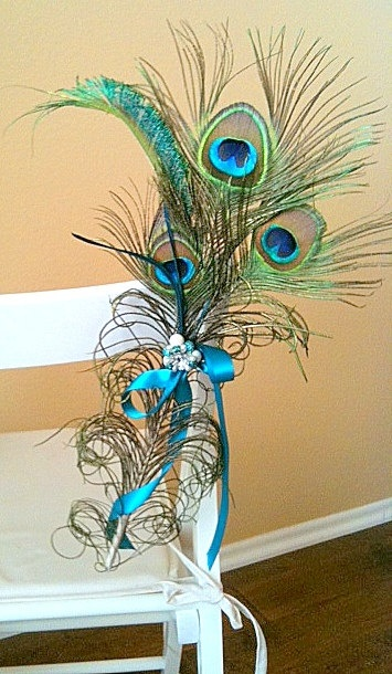 Customize this peacock decor for the pews chairs reception or ceremony area peacock wedding - Peacock feather decorations home decor ...