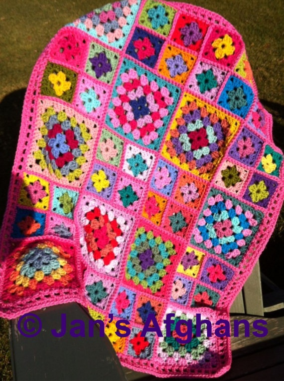 Crocheted afghan kaleidoscope granny square BABY afghan ...