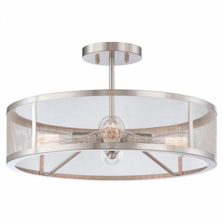 Mesh industrial semi flush mount ceiling light for Industrial flush mount lighting