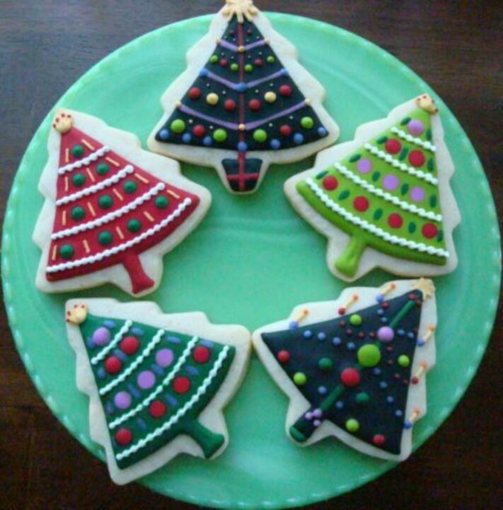 Christmas tree cookie | Cookie Decorating | Pinterest