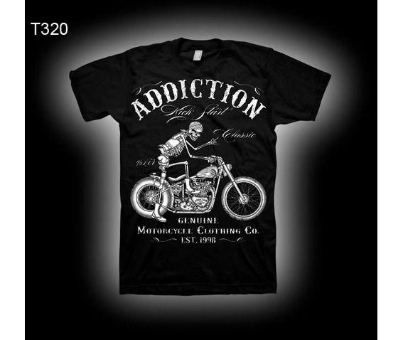 motorcycle kick start classic skeleton biker men tshirt. Black Bedroom Furniture Sets. Home Design Ideas