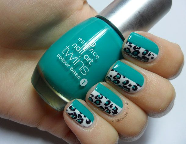 white/turqouise cheetah  Nail Stories