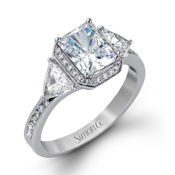 Com Three Stone Engagement Rings Style MR2400 18K White Gold Ring