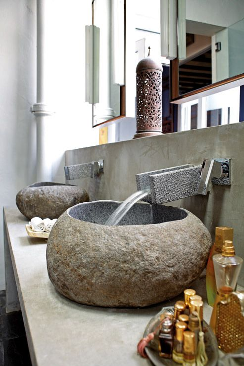 Stone basins Rustic Bathrooms Pinterest