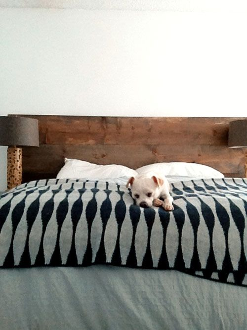 "DIY ""weathered"" wood headboard"