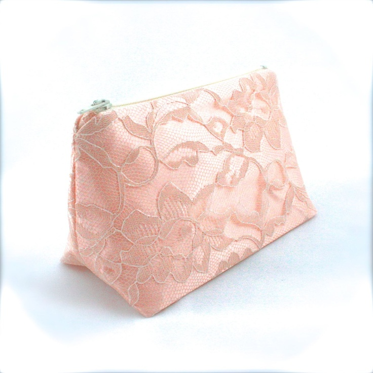Lace Bridesmaid Gift Blush Pink & Vintage Cream Wedding Cosmetic Bag - Wedding Favor, Bridal Accessory, Vintage Wedding, Bridal Clutch. $11.95, via Etsy.