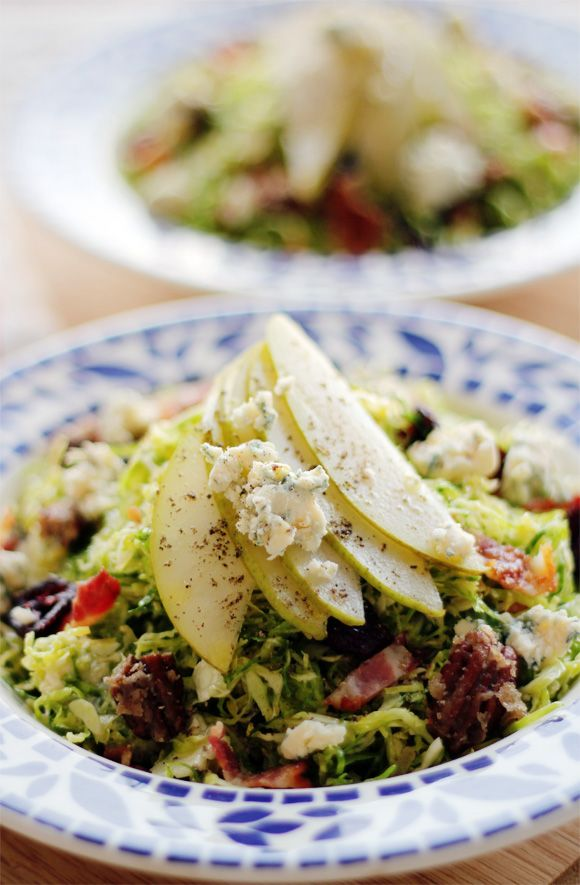 Candied Brussels Sprouts Salad with Blue Cheese, Bacon, and Pears ...