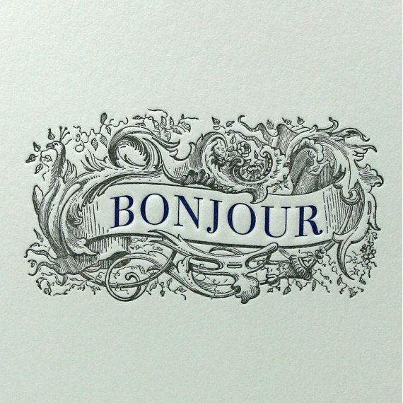 letterpress  $4.50  http://www.etsy.com/listing/69868068/letterpress-card-bonjour-greeting-card