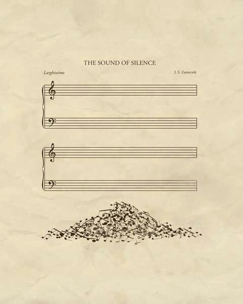 The sound of silence - blank music score with notes piled up below