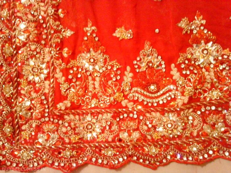 Red Swarovski Indian wedding dress Red