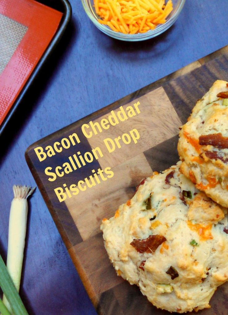 Bacon Cheddar Scallion Drop Biscuits ~ Pearls + Girls