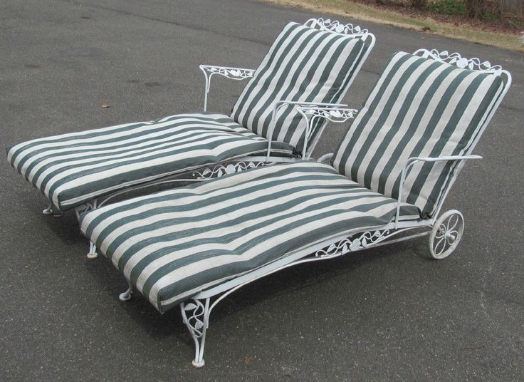 Pair 1940 Woodard Wrought Iron Chantilly Rose Chaise Lounges w Cushio…